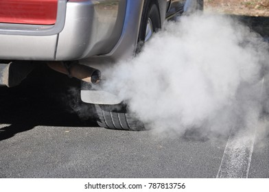 vehicle exhaust in cold air