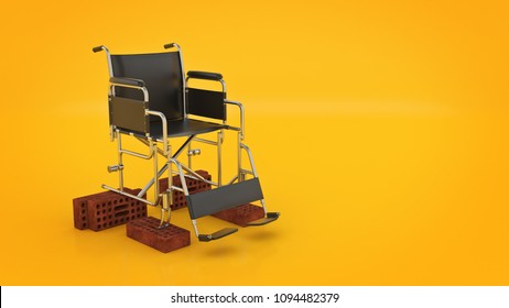 Vehicle for handicapped , wheelchair. 3d rendering