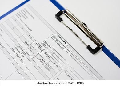 Vehicle Invoice. Standart auto invoice form sample