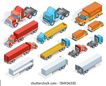 Vehicle isometric collection of colorful trucks with and without trailers isolated  illustration