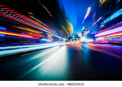 Vehicle light trails in city at night
