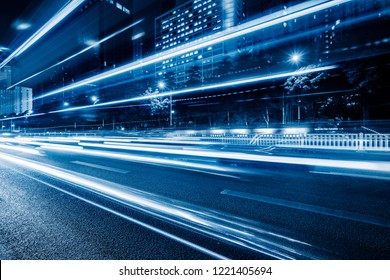 vehicle light trails at city road, shanghai, china