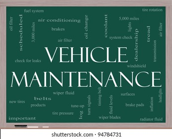 Vehicle Maintenance Word Cloud Concept on a Chalkboard with great terms such as oil change, brakes, tires, lights, coolant and more.