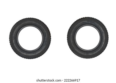Vehicle parts - Couple tires on white background
