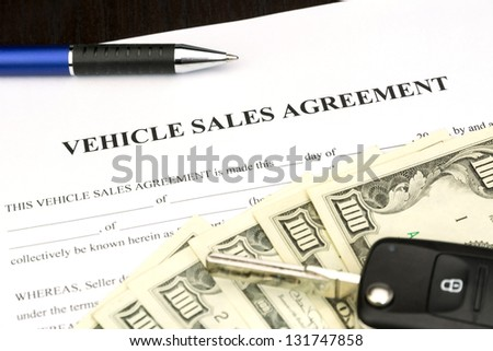 vehicle sales agreement document contract car stock photo edit now