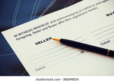 Vehicle Sales Agreement Document Form. Space for Seller.