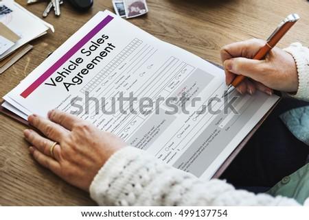 vehicle sales agreement form concept stock photo edit now