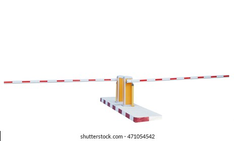 Vehicle Security Barriers, Automatic Barrier gate OPEN and CLOSED by card dispenser isolated on white background. This has clipping path.