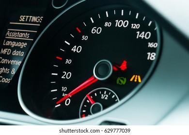 Vehicle Speedometer close up