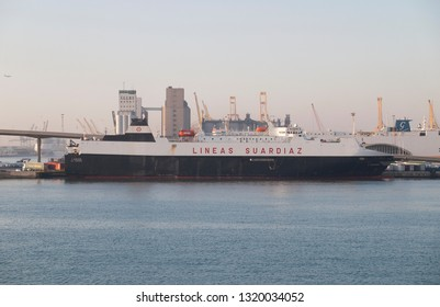 Vehicle transport vessel L'Audace of the Lineas Suardiaz company moored in the Poniente dock of the Port of Barcelona. February 22, 2019.
