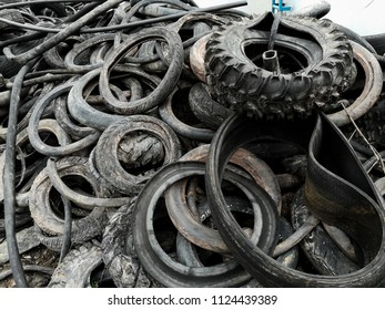 Vehicle tyre waste in stock yard