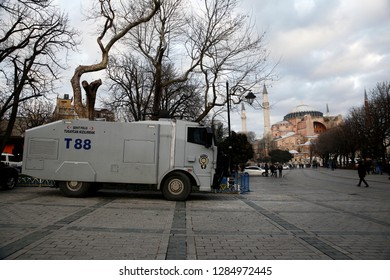 A vehicle with water cannon as seen outside of Hagia Sophia Museum during a protest in Istanbul, Turkey on Jan. 6, 2019