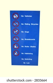 vehicles bikes dogs skateboards are prohibited sign