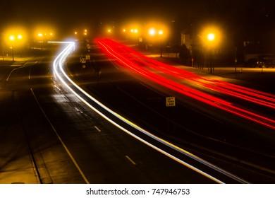Vehicles Light Trails at Night