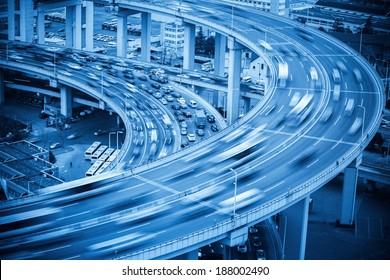 vehicles motion blur on the bridge approach , abstract transportation background