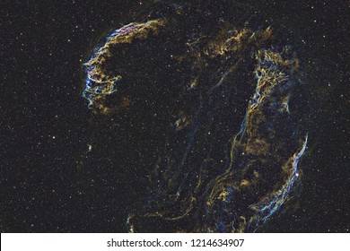 The Veil Nebula in Hubble Space Palette Colors