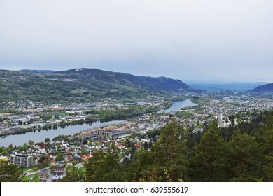 Veiw from the mountain named Spiralen in Drammen, Norway.