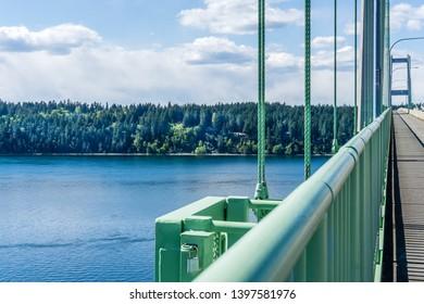 A veiw of the shoreline from the Narrows Bridge in Tacoma, Washington.