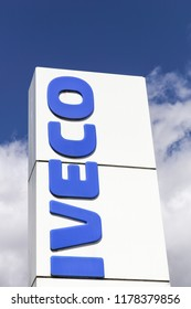 Vejle, Denmark - April 21, 2018: Iveco logo on a panel. Iveco, an acronym for Industrial Vehicles Corporation, is an Italian industrial vehicle manufacturing company based in Turin, Italy