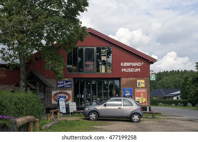 VEJLE, DENMARK - AUGUST 22, 2016: Bindeballe Merchant founded in 1897. The grocer's shop is in  in the original buildings as an old-fashioned general store, also a living museum, August 22, 2016.