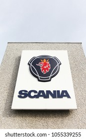 Vejle, Denmark - March 25, 2017: Scania sign on a wall. Scania is a major swedish automotive industry manufacturer of commercial vehicles specifically heavy trucks and buses