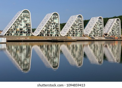 "Vejle, Denmark, May  18, 2018.  ""The Wawe"" Luxury seaside apartment houses in Vejle by Henning Larsen architect studio."