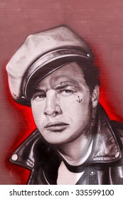 Vejle, Denmark - May 8, 2015:  Street art of Marlon Brando painted on a wall in Vejle, Denmark