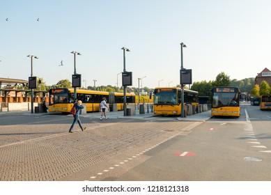 Vejle / Denmark - September 18 2018: Central bus station in Vejle, Denmark.