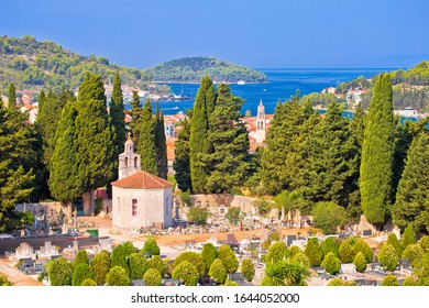 Vela Luka on Korcula island bay and cemetery view, archipelago of southern Dalmatia, Croatia