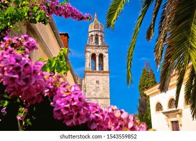 Vela Luka: Town of Vela Luka on Korcula island church tower and flowers view, archipelago of southern Dalmatia, Croatia - Shutterstock ID 1543559852