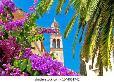 Vela Luka: Town of Vela Luka on Korcula island church tower and flowers view, archipelago of southern Dalmatia, Croatia