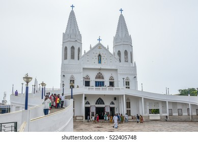 VELANKANNI, INDIA - SEPTEMBER 30:People going to pray at Basilica Our Lady of Good Health/Shrine/Church of Mother Mary. Pilgrim center of Christians on September 30 2016 in Velankanni,TamilNadu, India