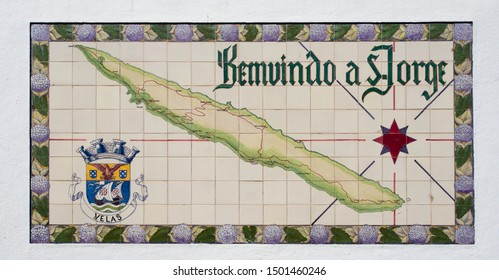 Velas, Azores / Portugal - August 22, 2018: Welcome to Sao Jorge sign in Velas, Azores Islands, Portugal.