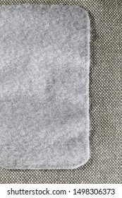 Velcro, texture of loop size of velcro on gray canvas bag.