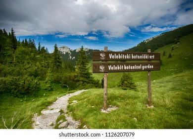 Velebit botanical garden entrance on Velebit mountain in Croatia