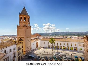 Velez-Malaga, Costa del Sol, Andalusia, Spain - October 5, 2018: Church of San Juan Bautista on Constitucion Square.