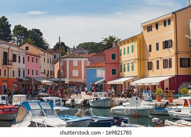 VELI LOSINJ, CROATIA - JUN 10: Boats in a small marina on June 10, 2013 in Veli Losinj, Croatia. Island is known as a tourist and aromatherapy centre.