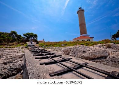 Veli Rat lighthouse and boat extraction tracks, Dugi Otok island, Dalmatia, Croatia
