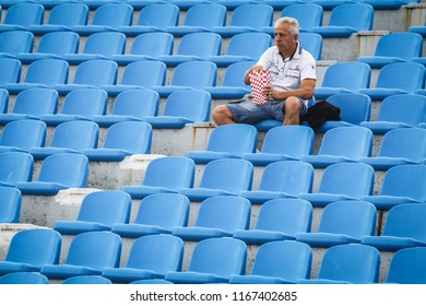 Velika Gorica, Croatia - 25th, August 2018 : The first football Croatian league Hrvatski Telekom, football game between Hnk Gorica and Rudes on Gorica stadium. Football fan on the empty grandstand.