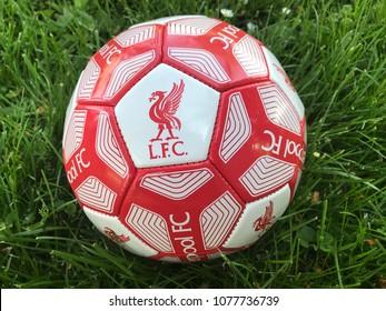 VELIKA GORICA, CROATIA - APRIL 28, 2018. - English football club FC Liverpool emblem on ball in grass.