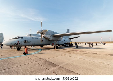 VELIKA GORICA, CROATIA - DECEMBER 10, 2016: On the occasion of the 25th anniversary of the Croatian Air Force and Air Defence, was held Open Day. Airfield with military transport plane Antonov An 32