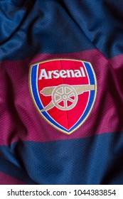VELIKA GORICA, CROATIA - MARCH 12, 2018. - English football club Arsenal FC emblem on jersey.