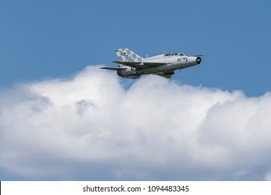 VELIKA GORICA, CROATIA - MAY 19, 2018: AirVG 2018 Airshow. MIG 21 fighter jet in flyby during AirVG 2018 Airshow.