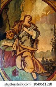 VELIKA MLAKA, CROATIA - MARCH 28: Saint Mary Magdalene, altarpiece in the Church of the Saint Barbara in Velika Mlaka, Croatia on March 28, 2017.