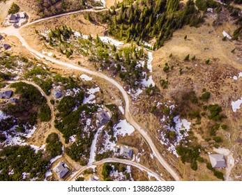 Velika Planina Alpine Meadow, aerial photo of beautiful nature on a sunny day