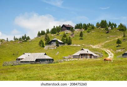 Velika Planina hill, tourist attraction and destination, Slovenia