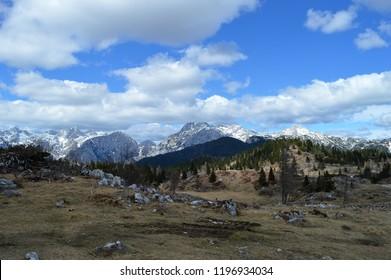 Velika planina is a karstified mountain plateau in the Kamnik–Savinja Alps northeast of Kamnik, Slovenia. View to the apls.