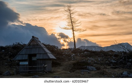 Velika planina pastures on a gloomy and cloudy day