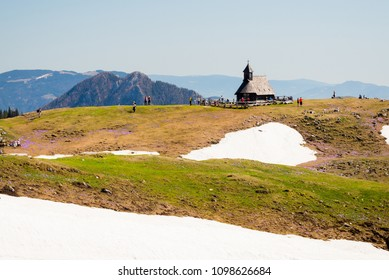 Velika Planina / Slovenia - April 21 2018: Church of Virgin Mary on Big pasture plateau / Velika planina is visited by numerous hikers during summer in Slovenia.