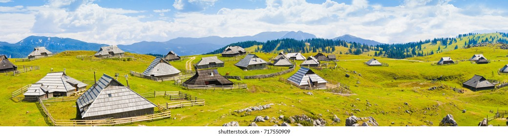 """""""Velika Planina"""", which in Slovenian means """"great plateau"""" is one of the most important Slovenian highlands with a particular architecture of wooden huts. (Europe - Slovenia)."""